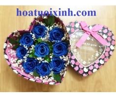 Hộp hoa hồng xanh - HT332